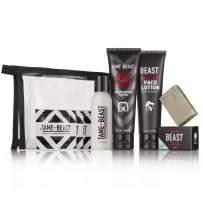 Men's Grooming Travel Set - All-in-1 Body Wash, Face Lotion, Nutt Butter Tingle Cream, Bonus Samples - BBC Back Balls Chest Starter Kit by Tame the Beast