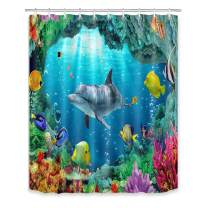 LB Undersea Shower Curtains for Bathroom Dolphin Ocean Fish Coral Reef Shower Curtain with Hooks 60x72 inch Waterproof Polyester Fabric