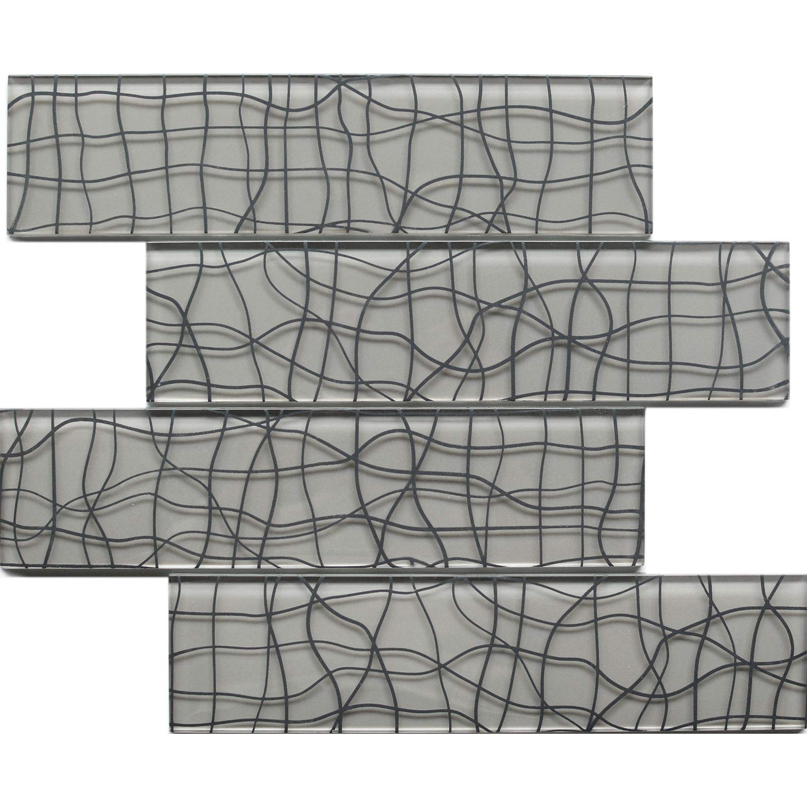 """Koozzo Glass Mosaic Tile, Rectangular, 11.8"""" x 2.95"""", a Pack of 6 Pieces (Approx. 1.45 sq ft) for Kitchen backsplash, Shower Wall, Bathroom Tile, Glossy Grey"""