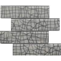 "Koozzo Glass Mosaic Tile, Rectangular, 11.8"" x 2.95"", a Pack of 6 Pieces (Approx. 1.45 sq ft) for Kitchen backsplash, Shower Wall, Bathroom Tile, Glossy Grey"