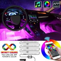 Interior Car LED Strip Lights, EJ's SUPER CAR 4pcs 48 LED APP Controller Car Interior Lights, One-Line Design Waterproof Multicolor Music Under Dash Lighting Kits, Car Charger Included, DC 12V