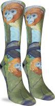 Good Luck Sock Women's Monkey Business Crew Socks - Yellow, Adult Shoe Size 5-9