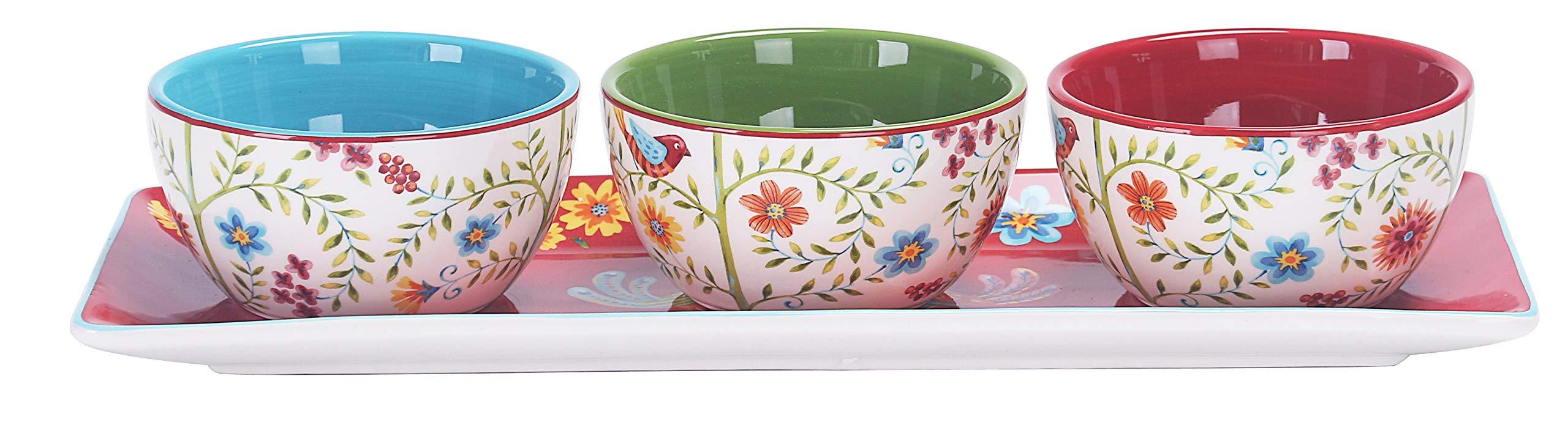Bico Red Spring Bird Ceramic Dipping Bowl Set (9oz bowls with 14 inch platter), for Sauce, Nachos, Snacks, Microwave & Dishwasher Safe