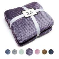 "Ultra Soft Cozy Plush Fleece Warm Solid Colors Traveling Throw Blanket 70"" X 78"" Full Size (180 cm X 200 cm) (Purple)"