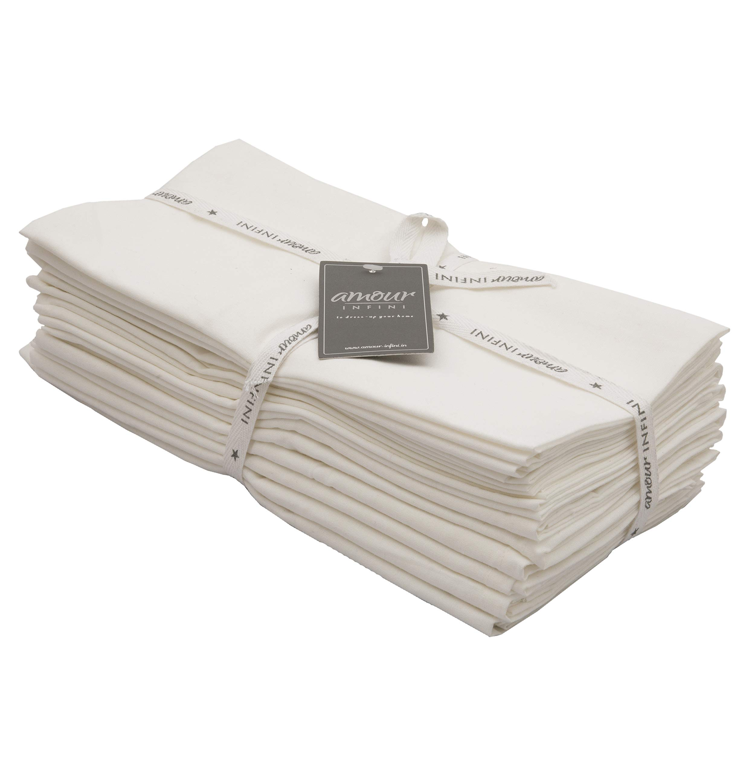 Amour Infini Flour Sack Towels Off White  12 Pack   28 x 28 Inch   Multi-use Kitchen Towels, Dish Towels, Cloth Napkins  100% Ring Spun Cotton   Highly Absorbent Tea Towels for Embroidery