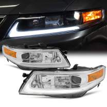 Fits 2004-2008 Acura TSX CL9 LED Tube Projector Front Chrome Clear Headlights Headlamps Pair Replacement