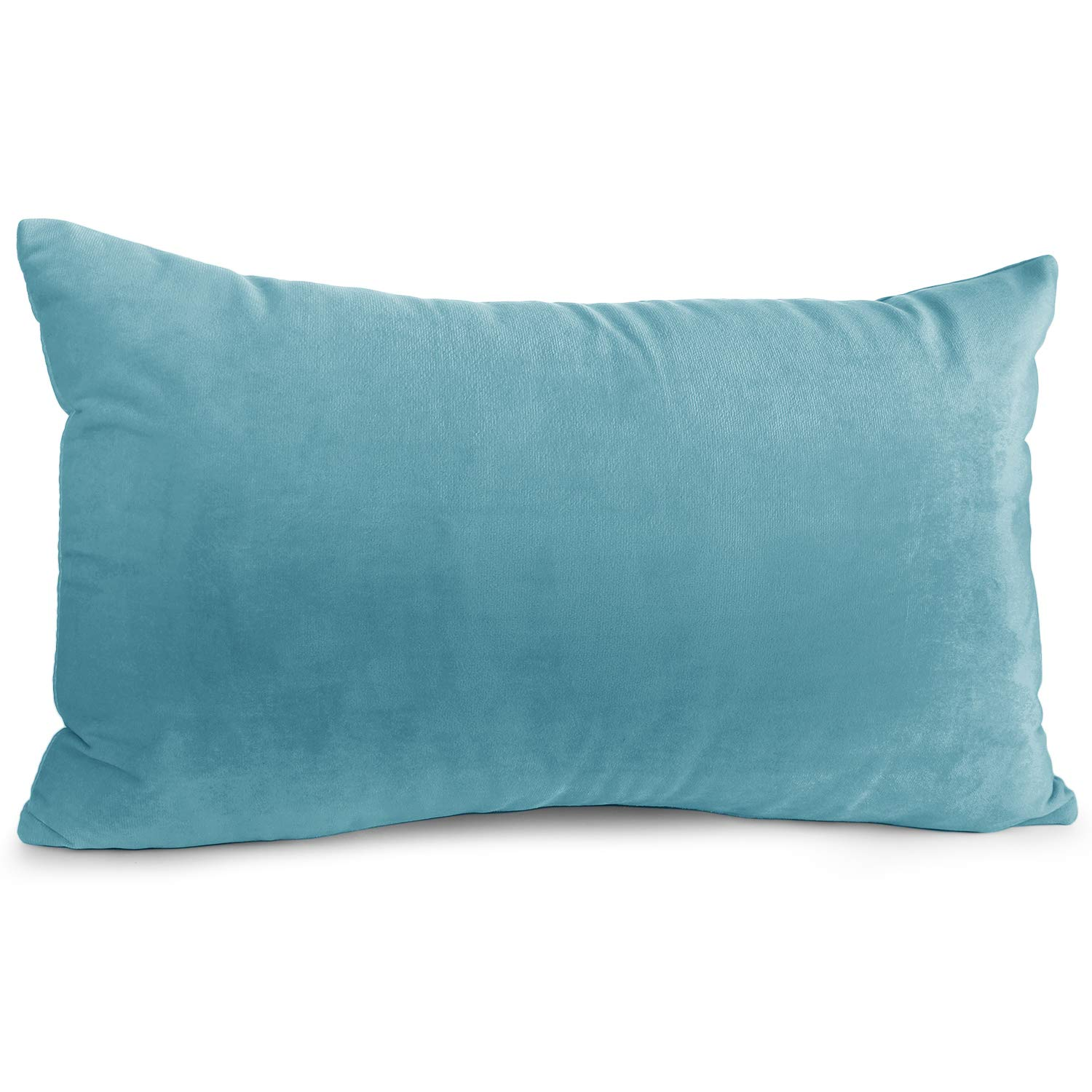 """Nestl Bedding Throw Pillow Cover 12"""" x 20"""" Soft Square Decorative Throw Pillow Covers Cozy Velvet Cushion Case for Sofa Couch Bedroom - Beach Blue"""