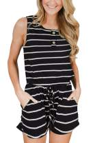 For G and PL Women's Summer Sleeveless Button Rompers with Pockets