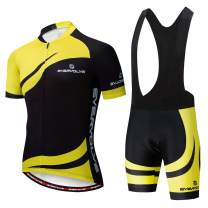 Vgowater Evervolve Men's Cycling Jersey Black Bib Shorts Set Biking Bib Suits