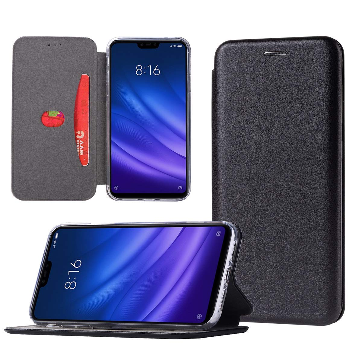 Shemax Compatible with Xiaomi Mi8 Lite Case,Cover Pouch PU Leather Flip with Magnetic Closure, Stand Function and Card Slot Bumper for Xiaomi Mi 8 Lite-Black