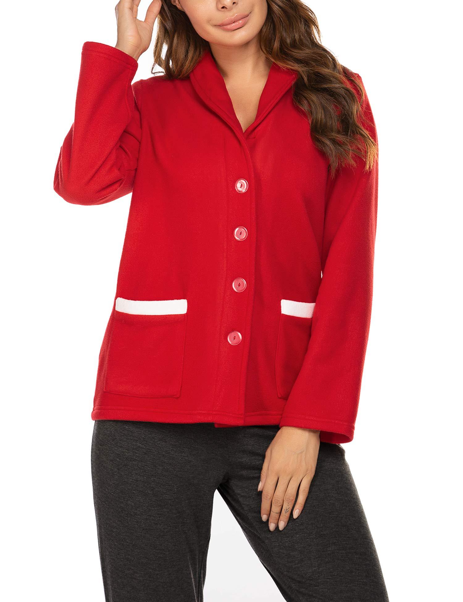 Ekouaer Women's Bed Jacket Fleece Lightwight Shawl Collar Coat Button Sleep Robe with Pockets