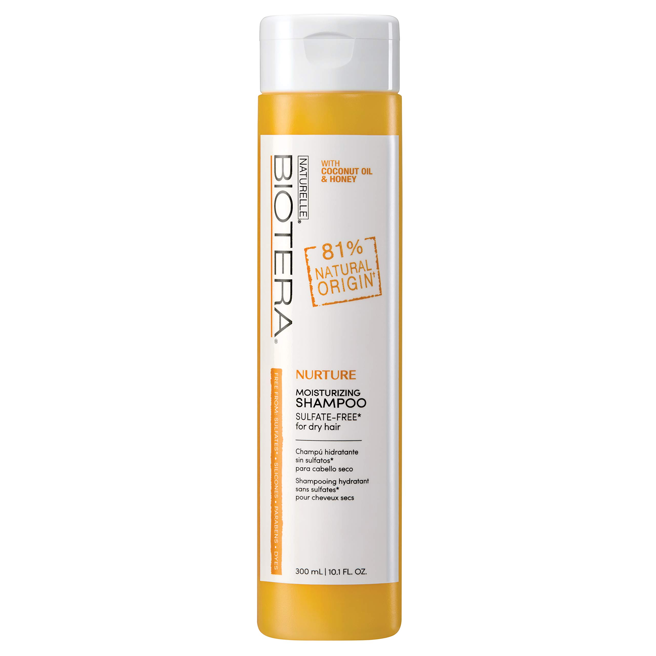 Biotera Natural Origin Nurture Moisturizing Shampoo, with Coconut Oil and Honey/Free from SLS/SLES Sulfates, Silicones, Parabens, Dyes and Gluten/Up to 97% Natural Original, 10.1-Ounce
