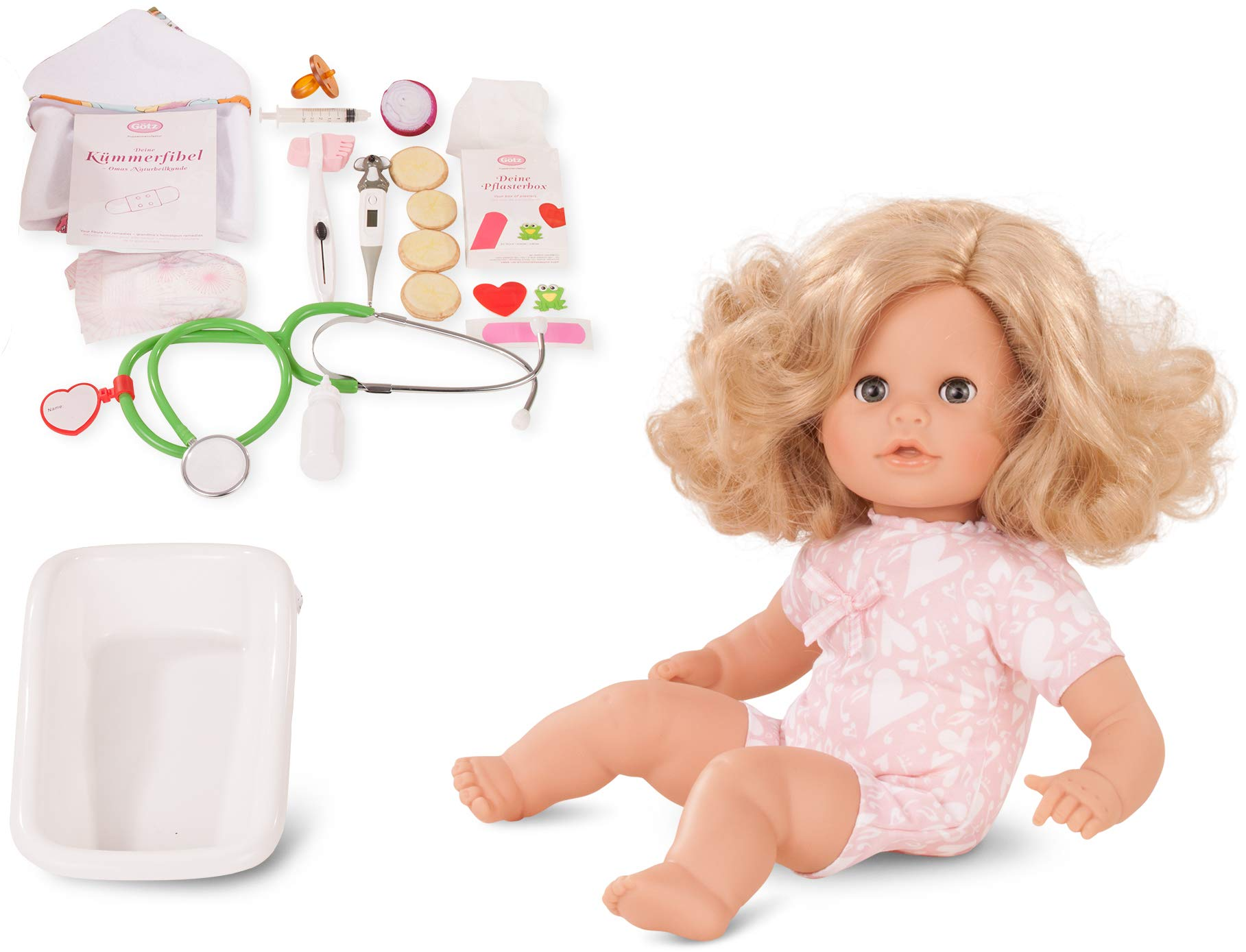 """Gotz Cosy Aquini Be A Doctor 13"""" Bath Time Baby Doll with Blonde Hair to Wash & Style, Quick Drying Soft Body, Bathtub & Accessories"""