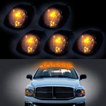 cciyu 5 Pack Smoke Cab Roof Marker Clearance Covers w/T10 W5W Wedge 168 194 LED Bulb Replacement fit for 1999-2002 for Dodge for Ram 2500 3500 4500