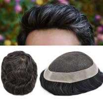 "LYRICAL HAIR French Lace Hair System Mens Toupee Remy Hair Poly Transparent Replacement For Men Light to Medium120% Density (810"", 410 4# MEDIUM BROWN + 10% SYNTHETIC GREY)"