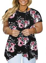 DOLNINE Womens Plus Size Tops Floral Tunics Casual Tee Shirts Summer Blouses