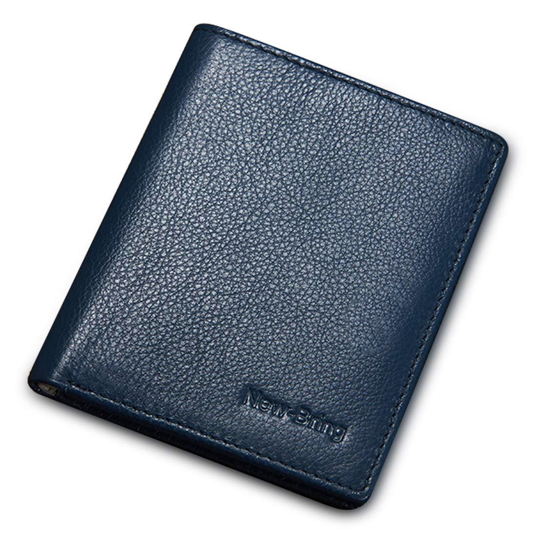NewBring Men's Genuine Leather Travel Wallet for Men Bifold Slim Minimalist Front Pocket Card Holder (blue)