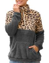 Kikibell Womens Pullover Coat Sweatshirt with Pocket Fleece Outwear Half Zip