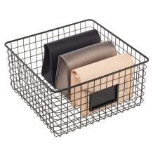 mDesign Farmhouse Deco Metal Wire Storage Organizer Basket Bin with Handles for Organizing Closets, Shelves and Cabinets in Bedrooms, Bathrooms, Entryways, Hallways - Matte Black