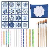 37PCS Mandala Dotting Tools Set, Pen Dotting Tools Brushes Mandala Stencil Ball Stylus Paint Tray for Rocks Painting, Nail Dotting, Drawing and Drafting Art Supplies.