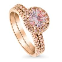 BERRICLE Rose Gold Plated Sterling Silver Halo Engagement Wedding Ring Set Made with Swarovski Zirconia Morganite Color Round 1.43 CTW