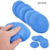 DEARLIVES Microfiber Applicator Pad, 20 Pack 5 Inch Blue Ultra-Soft Car Wax Applicator Pad Use for Detailing, Waxing, Dust Removing and Polishing Vehicles, Foam Applicator Pad