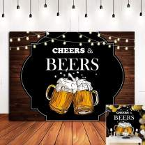 Cheers and Beers Mug Photo Backgrounds for 30th 40th 50th Birthday Party Banner Decorations Vinyl 6x4ft Rustic Wood Board Photography Backdrop Photo Booths Studio Props Supplies
