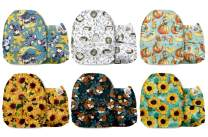 Mama Koala One Size Baby Washable Reusable Pocket Cloth Diapers, 6 Pack with 6 One Size Microfiber Inserts (Sunflower Trap)