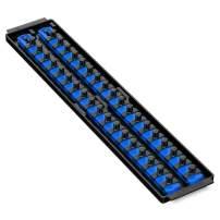 Ernst Manufacturing Socket Boss 2-Rail 3/8-Inch-Drive Socket Organizer, 19-Inch, Blue