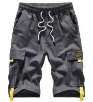 VtuAOL Men's Cargo Shorts Elastic Waist Casual Cotton Shorts with Multi Pockets