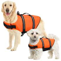 SUNFURA Ripstop Dog Life Jacket, Safety Pet Flotation Life Vest with Reflective Stripes and Rescue Handle, Adjustable Puppy Lifesaver Swimsuit Preserver for Small Medium Large Dogs (Orange, L)