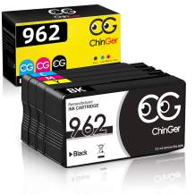 CHINGER Remanufactured Ink Cartridge Replacement for HP 962 for HP OfficeJet Pro 9010 9012 9014 9015 9016 9019 9020 9022 9025 9026 9028 Printer (1Black, 1Cyan, 1Magenta, 1Yellow, 4 Pack)