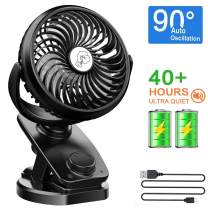 NANW Clip on Stroller Fan Battery Operated, Auto Oscillation Fan, 40 Hours Rechargeable Battery, Portable Clip Desk Fan, Personal Mini Table Fan for Baby Stroller Outdoor/Indoor Car Travel Office