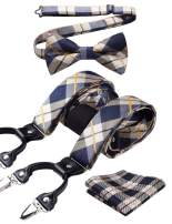 HISDERN Check 6 Clips Suspenders & Bow Tie and Pocket Square Set Y Shape Adjustable Braces