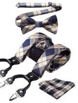 HISDERN Check 6 Clips Suspenders & Bow Tie and Pocket Square Set Y Shape Adjustable Braces