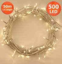 Christmas Lights 500 LED 50m Warm White Indoor/Outdoor String Fairy Lights Tree Lights Festival/Bedroom/Party Decorations Memory Timer Mains Powered 164ft Lit Length 10m/32ft Lead Wire Clear Cable