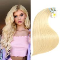 SUYYA Tape in Hair Extensions Remy Human Hair 14 inches 40g/pack 20pcs Straight Seamless Skin Weft Tape Hair Extensions(14 inches Color 613 Bleach Blonde)