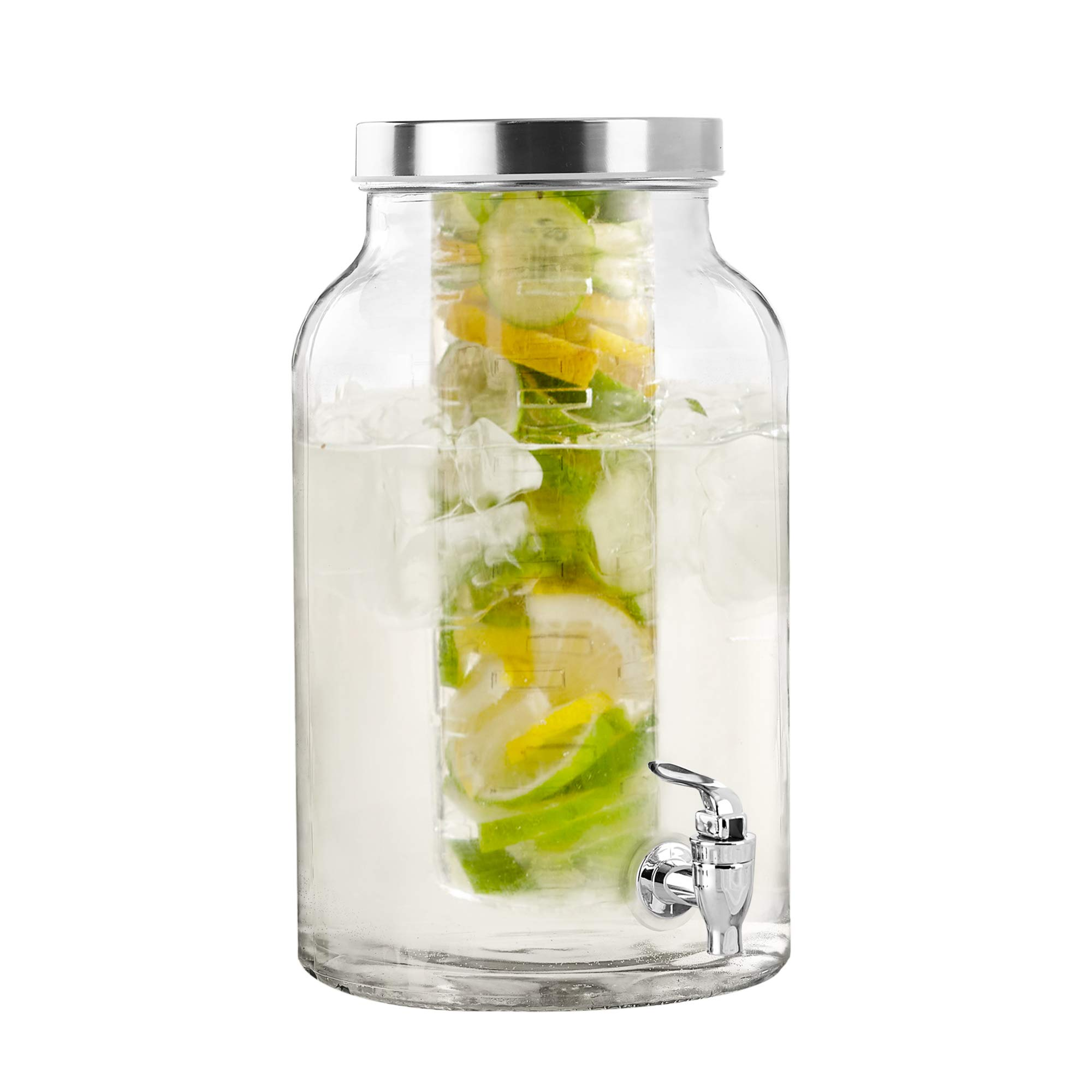 Style Setter 210437-GBS Fruit Infuser Glass Beverage Dispenser with Metal Lid, 8.5x13.5, Clear