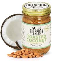 Big Spoon Roasters Toasted Coconut Almond Butter w/ Sea Salt - Keto Friendly Almond Coconut Butter - Crunchy Almond Butter w/ Bee-Friendly Almonds - Gourmet, Pure, Vegan Almond Nut Butter - 13 Ounces