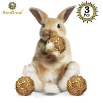 SunGrow Coconut Fiber Rabbit Balls x 3 Pack, Improves Dental Health, 100% Natural Chew Toy, Provides Hours Stimulation, Environment Friendly, Stress Reliever, Ideal Bunny, Chinchilla & Kitten