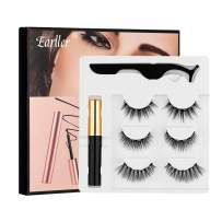 EARLLER 3 Pairs Magnetic Eyelashes and Eyeliner Kit, Reusable 3D Magnetic False Lashes With Applicator - Natural Look, Waterproof, Easy to Use and No Glue Needed Eyelashes Set