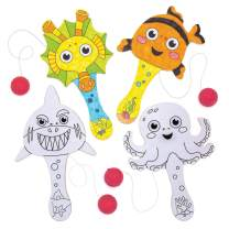 Baker Ross Mini Colour in Sea Life Paddle Bat and Ball, Elasticated Bat and Ball for Kids to Personalise, Decorate and Play with for Arts and Crafts (Pack of 5)