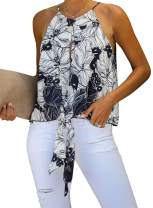 Asyoly Womens Floral Printed Tank Tops Tie Front Sleeveless Lightweight Keyhole Cami