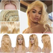 """613 Lace Front Wigs Human Hair With Baby Hair Pre-Plucked Hairline Free Part Glueless #613 Bleach Blonde For Women Virgin Human hair 130% Density Lace Front Wigs (18"""", Body Wave)"""