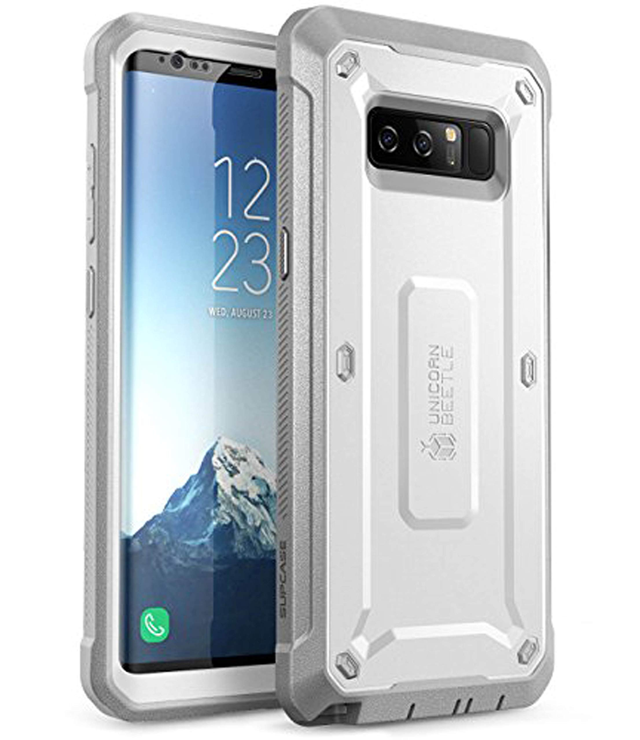 SUPCASE Unicorn Beetle Shield Series Case Designed for Galaxy Note 8, with Built-in Screen Protector Full-Body Rugged Holster Case for Galaxy Note 8 (2017 Release) (White)