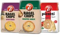7Days Bagel Chips, Variety 12 Pack: 4 Roasted Garlic, 4 Pizza, 4 Everything — All Natural, Non-GMO (3.17oz, Pack of 12)