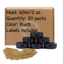 20pcs 2oz/60ml Black Aluminum Tin Jar with Screw Lid and Blank Labels