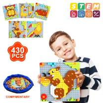 INSOON 6 in 1 STEM Toys Building Blocks Set Puzzle Toys for 4 5 6 7 8 Year Old Boys Girls Creative Button Games Transport Pattern Blocks Toys for Kids Logicality Practice