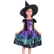 Suppromo Girls Witch Costume Kids Halloween Witch Costumes with Hat, Witch Dress Up Outfit 3-8T