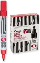 PILOT Super Color Refillable Permanent Markers, Red Ink, Broad Chisel Point, 12 Count (44200)